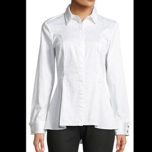 Michael Kors Peplum Button Front White Shirt Small